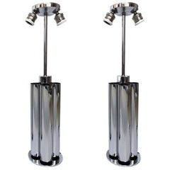 Pair of Midcentury Chromed Italian Table Lamps by Reggiani, 1970s