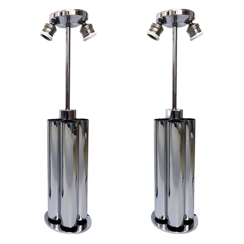 Pair of Midcentury Chromed Italian Table Lamps by Reggiani, 1970s