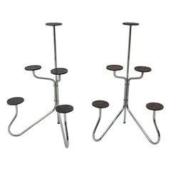 Pair of Midcentury Chromed Plant Stands, 1960s, Czechoslovakia