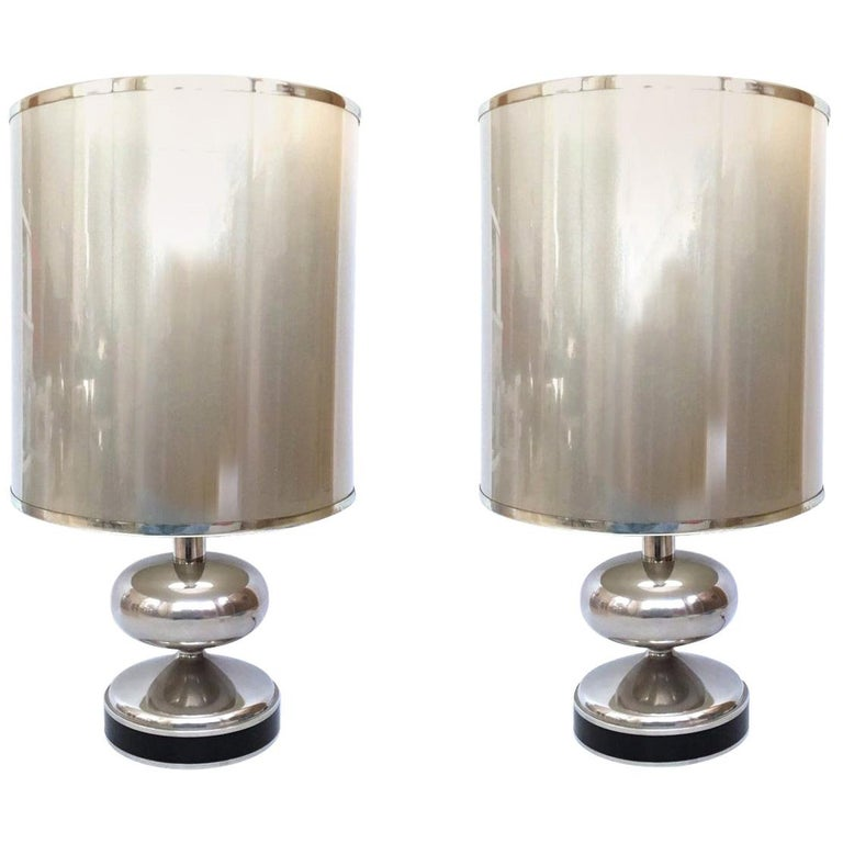 Spanish chromed table lamps, 1970, offered by Sacramento Anticuaria