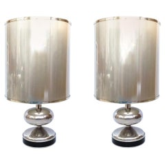 Pair of Midcentury Chromed Spanish Table Lamps, 1970s