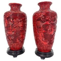 Pair of Midcentury Cinnabar Vases
