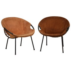 Pair of Midcentury Circle Armchairs by Lusch Erzeugnis for Lusch & Co, 1960