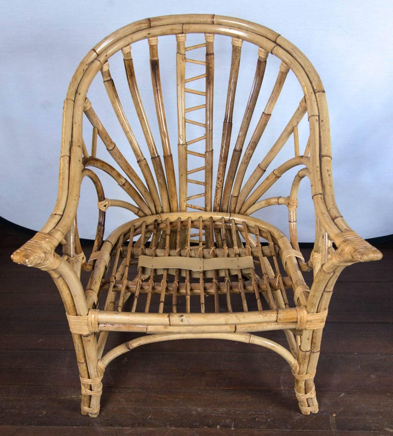 Pair of Midcentury Circle Sided Rattan Arm Chairs For Sale 6