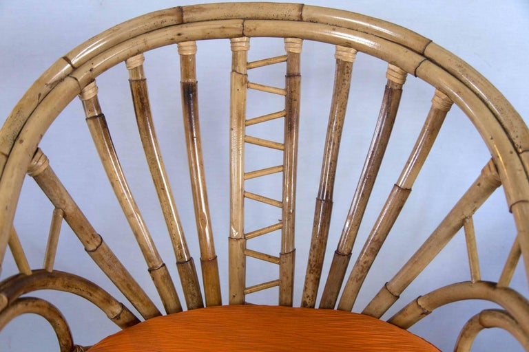 Pair of Midcentury Circle Sided Rattan Arm Chairs For Sale 1