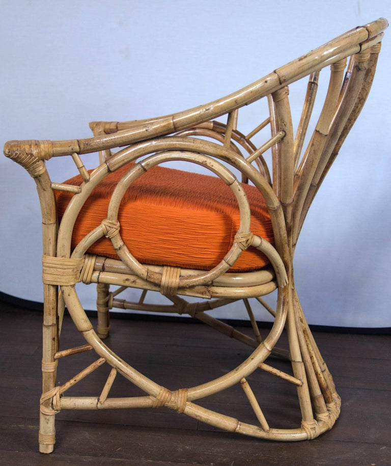 Pair of Midcentury Circle Sided Rattan Arm Chairs For Sale 3