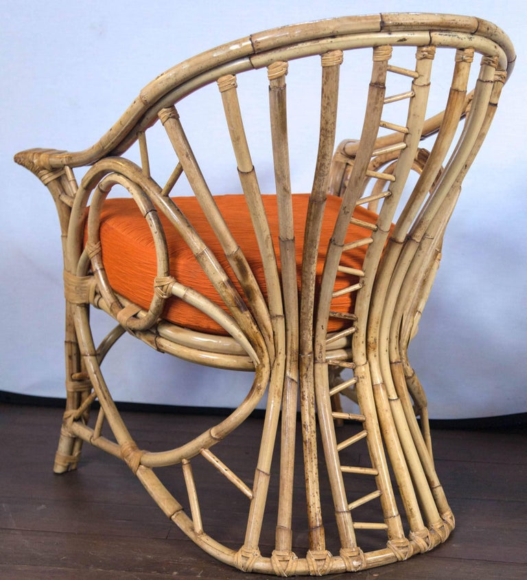 Pair of Midcentury Circle Sided Rattan Arm Chairs For Sale 4