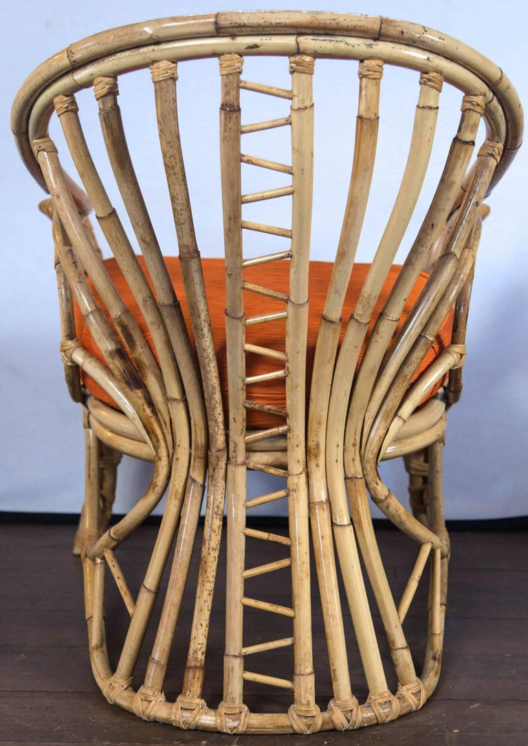 Pair of Midcentury Circle Sided Rattan Arm Chairs For Sale 5