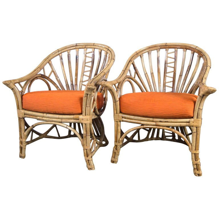 Pair of Midcentury Circle Sided Rattan Arm Chairs For Sale