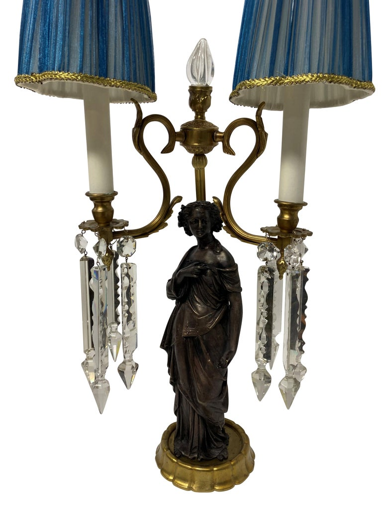 Neoclassical Pair of Midcentury Classical Figural Lamps