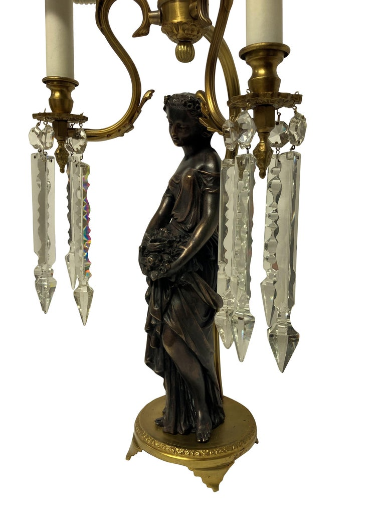 Brass Pair of Midcentury Classical Figural Lamps
