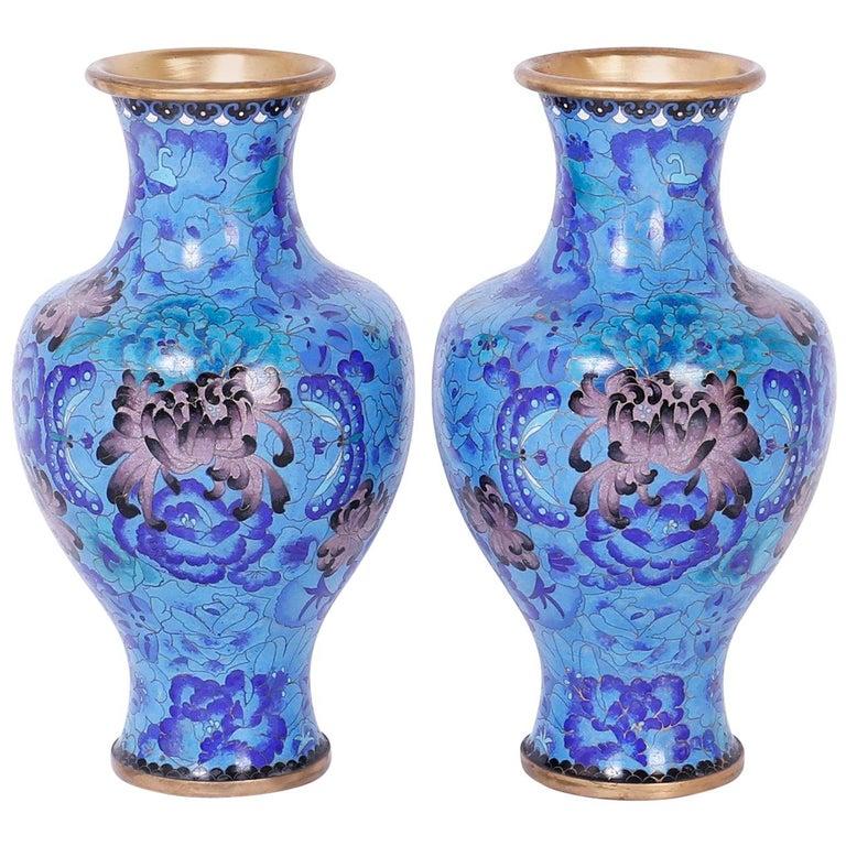 Pair of Midcentury Cloisonné Vases For Sale