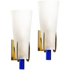 Pair of Midcentury Cobalt and Frosted Glass Conical Sconces with Brass Fittings