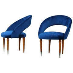 Pair of Midcentury Cobalt Blue Brass Round Bedroom Chairs Maple Wood