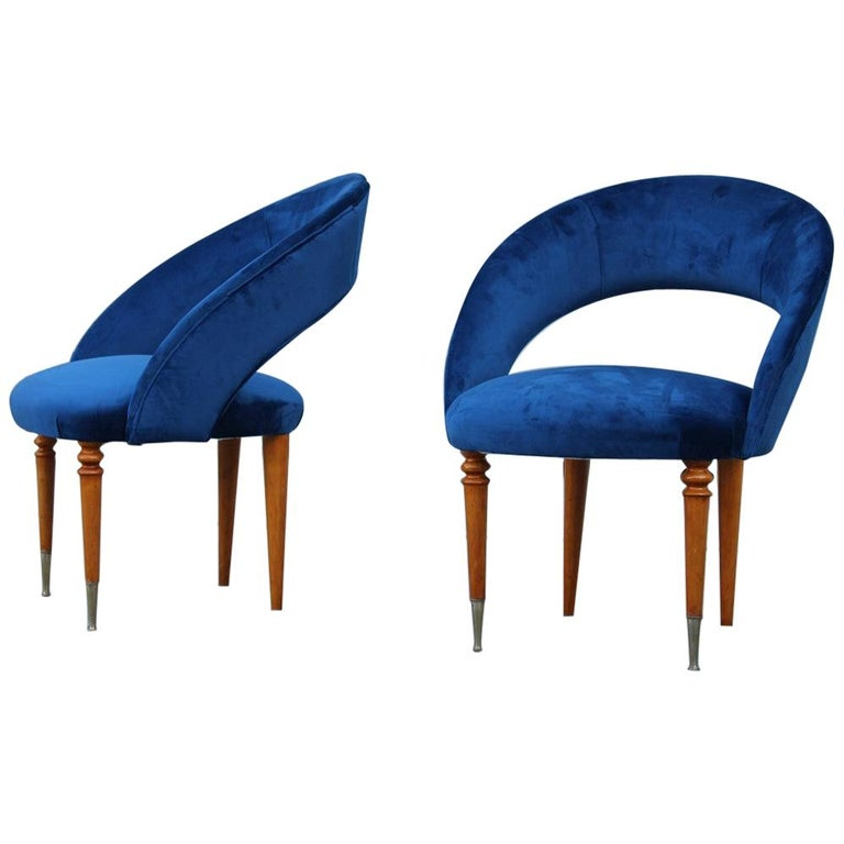 Pair of Midcentury Cobalt Blue Brass Round Bedroom Chairs Maple Wood For Sale