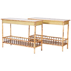 Pair of Midcentury Colonial Style Bamboo Consoles with Decoupage Flowers