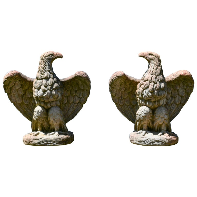 Pair of Midcentury Concrete Garden Eagles For Sale