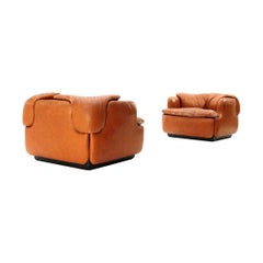 Pair of Midcentury 'Confidential' Leather Armchairs by Alberto Rosselli for Sapo