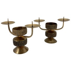 Pair of Midcentury Copper Candleholder by Gyula Szabo, 1970s