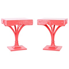 Pair of Midcentury Coral Lacquered Regency Side Tables