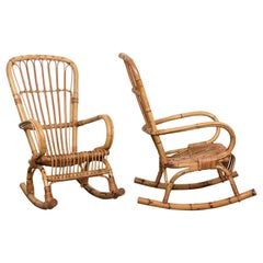 Pair of Midcentury Cote d'Azur Rattan and Bamboo Italian Rocking Chairs, 1960s