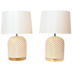 Pair of Midcentury Cream Ceramic Table Lamps by Tommaso Barbi, circa 1970