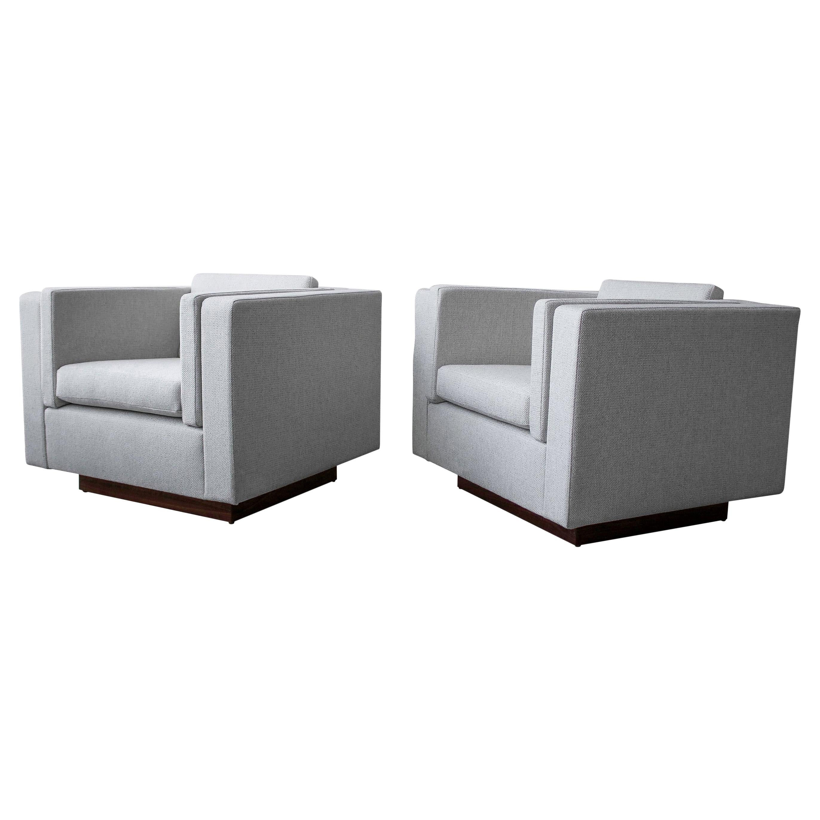 Pair of Midcentury Cube Lounge Chairs