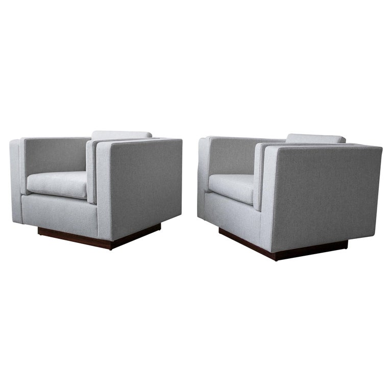 Pair of Midcentury Cube Lounge Chairs For Sale