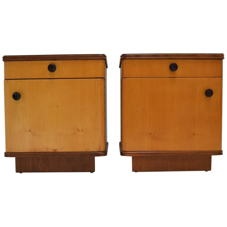 Pair of Midcentury Czechoslovakian Bedside Tables, 1960s For Sale