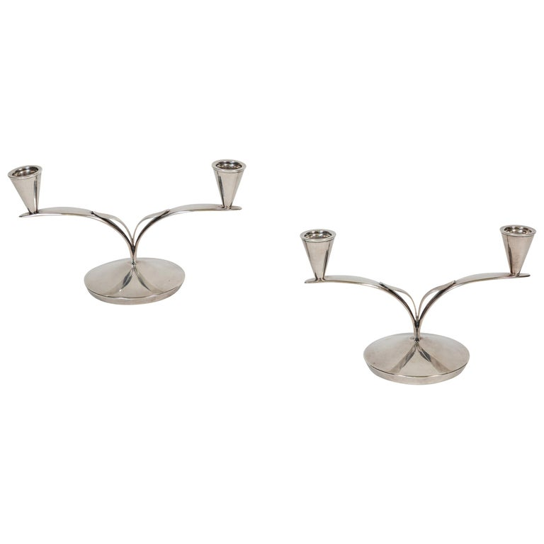 Pair of Midcentury Danish 2-Arm Silver-Plated Candleholders For Sale