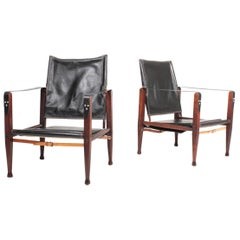 Pair of Midcentury Danish Design Lounge Chairs in Patianted Leather by Klint