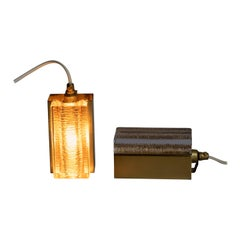 Pair of Midcentury Danish Glass and Brass Sconces by Vitrika