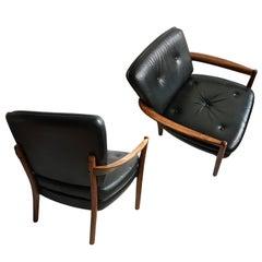 Pair of Midcentury Danish Lounge Chairs, Refurbished