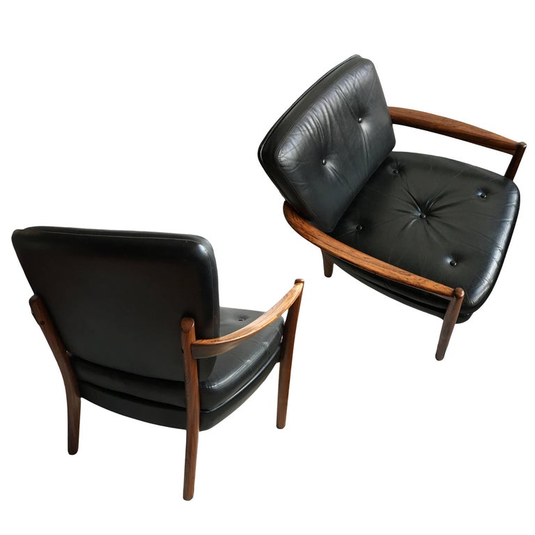 Pair of Midcentury Rosewood Danish Lounge Chairs