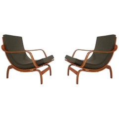 Pair of Midcentury Danish Modern Bentwood Lounge Chairs in Walnut Stained Oak