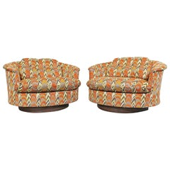 Pair of Midcentury Danish Modern Groovy Round Swivel Club Chairs by Selig