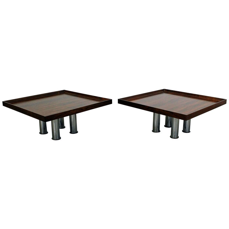 Mid Century Rose Wood Side Table Or Small Coffee Table For: Pair Of Midcentury Danish Modern Knoll Rosewood Chrome