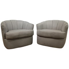 Pair of Midcentury Danish Modern Selig Swivel Club Chairs