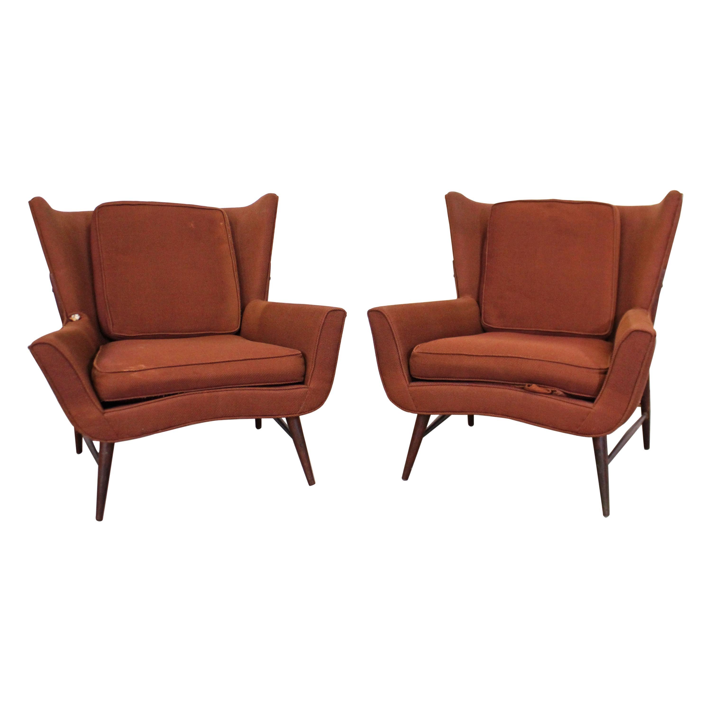 Pair of Midcentury Danish Modern Wingback Lounge Chairs