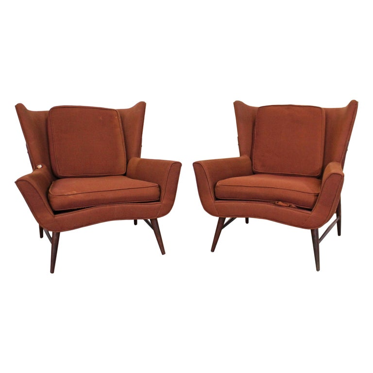 Pair of Mid Century Danish Modern Wingback Lounge Chairs For Sale