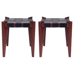 Pair of Midcentury Danish Modern Wood and Woven Black Leather Stools or Benches