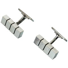Pair of Midcentury Danish Silver Embossed Cufflinks