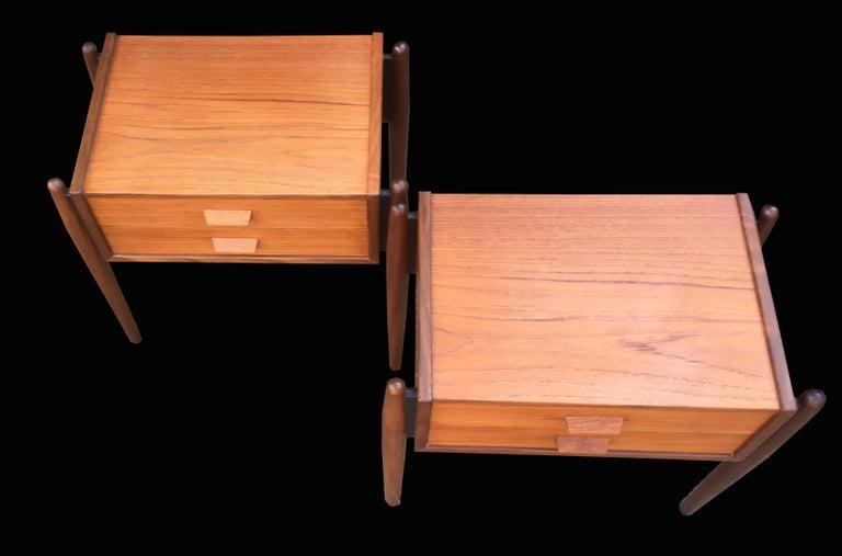 Pair Of Midcentury Danish Teak 2-Drawer Bedside Tables For