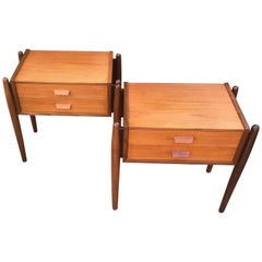 Pair of Midcentury Danish Teak 2-Drawer Bedside Tables