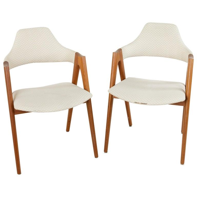 Pair Of Midcentury Danish Teak Compass Chairs Designed By Kai Kristiansen