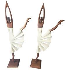 Pair of Midcentury Danish Teak Dancer Sculptures