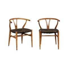 Pair of Midcentury Danish Wood and Raffia Occasional Chairs