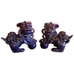 Pair of Midcentury Dark Blue Chinese Ceramic Foo Dogs