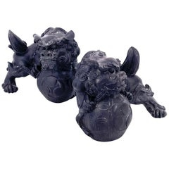 Pair of Midcentury Dark Blue Chinese Resin Foo Dogs Bookends