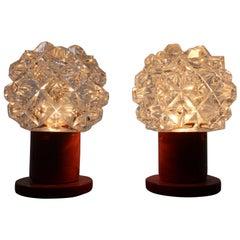 Pair of Midcentury Design Glass Table Lamps, Kamenicky Senov, 1970s